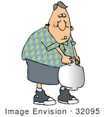 #32095 Clip Art Graphic Of A Man Carrying A Very Heavy Propane Tank