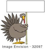 #32097 Clip Art Graphic Of A Bored Turkey Holding A Sign While Working Looking Upwards