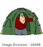 #32098 Clip Art Graphic Of A Caucasian Male Camper Peeking Out From Inside His Green Tent