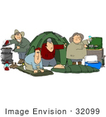 #32099 Clip Art Graphic Of A Group Of Caucasian Men Setting Up Camp While Enjoying A Weekend Without Wives Or Kids