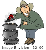 #32100 Clip Art Graphic Of A Happy Caucasian Guy Cooking Food On A Dutch Oven At His Campsite