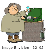 #32102 Clip Art Graphic Of A Chubby Man Salting His Eggs While Cooking On A Propane Camping Stove