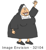 #32104 Clip Art Graphic Of A Toothy Nun Waving And Smiling