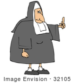 #32105 Clip Art Graphic Of An Angered Old Nun Flipping The Bird At Someone Who Made Her Mad