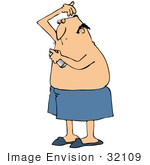 #32109 Clip Art Graphic Of A Caucasian Man Spray Deodorant Under His Arms To Prevent Body Odor