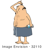 #32110 Clip Art Graphic of a Caucasian Guy Sniffing His Armpits After Applying Spray Deodorant by DJArt