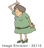 #32112 Clip Art Graphic of a Paranoid Caucasian Woman Sniffing Her Armpits For Odor While Out On The Town by DJArt