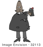 #32113 Clip Art Graphic Of An African American Preacher Holding A Bible And Teaching During Sunday Church