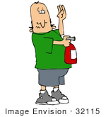 #32115 Clip Art Graphic Of A Caucasian Man Learning How To Use An Extinguisher In Case Of A Fire