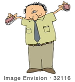 #32116 Clip Art Graphic Of A Caucasian Man Holding Up His Dentures