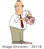 #32118 Clip Art Graphic Of A Man Stealing Money From His Child'S Piggy Bank To Feed His Addiction Of Drugs Or Alcohol