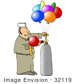 #32119 Clip Art Graphic Of A Caucasian Balloon Man Filling Party Balloons With Helium For A Birtday Party