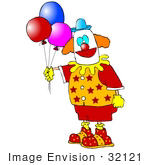 #32121 Clip Art Graphic Of A Party Entertainment Clown In A Colorful Uniform Holding Helium Filled Balloons