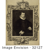 #32127 Stock Illustration Of A Portrait Of Christopher Columbus Seated With An Intricate Frame An Engraving By Dawson C 1892