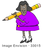 #33015 Clip Art Graphic of an African American Lady Teacher With a Giant Pencil by DJArt
