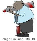 #33019 Clip Art Graphic of an African American Business Guy Writing With A Giant Red Marker by DJArt