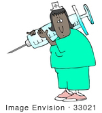 #33021 Clip Art Graphic of an African American Nurse Woman Carrying A Giant Needle In A Syringe by DJArt