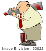 #33022 Clip Art Graphic Of A Caucasian Business Man Writing With A Giant Red Marker