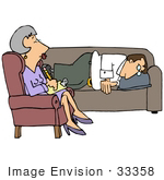 #33358 Clip Art Graphic Of A Frustrated Guy Lying On A Counselor'S Sofa And Complaining About His Wife Or Career To A Middle Aged Psychiatrist Lady