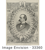 #33360 Stock Illustration Of The Leaders Of The Knights Of Labor Founders Of Labor Day Showing Portraits Of Men Including Uriah S Stephens And Terence V Powderly Surrounded By Scenes Of Lumberjacks Miners Blacksmiths And Builders Working