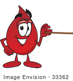 #33362 Clip Art Graphic Of A Transfusion Blood Droplet Mascot Cartoon Character Holding A Pointer Stick