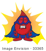 #33365 Clip Art Graphic Of A Transfusion Blood Droplet Mascot Cartoon Character Dressed As A Super Hero
