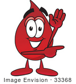 #33368 Clip Art Graphic Of A Transfusion Blood Droplet Mascot Cartoon Character Waving And Pointing