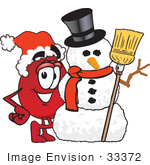 #33372 Clip Art Graphic Of A Transfusion Blood Droplet Mascot Cartoon Character With A Snowman On Christmas