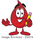 #33374 Clip Art Graphic Of A Transfusion Blood Droplet Mascot Cartoon Character Holding A Pencil