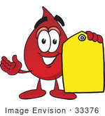 #33376 Clip Art Graphic of a Transfusion Blood Droplet Mascot Cartoon Character Holding a Yellow Sales Price Tag by toons4biz