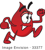 #33377 Clip Art Graphic Of A Transfusion Blood Droplet Mascot Cartoon Character Running