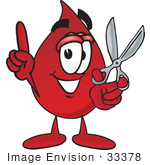 #33378 Clip Art Graphic Of A Transfusion Blood Droplet Mascot Cartoon Character Holding A Pair Of Scissors