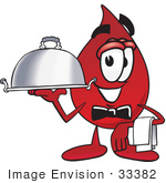 #33382 Clip Art Graphic Of A Transfusion Blood Droplet Mascot Cartoon Character Dressed As A Waiter And Holding A Serving Platter