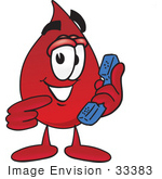#33383 Clip Art Graphic of a Transfusion Blood Droplet Mascot Cartoon Character Holding a Telephone by toons4biz