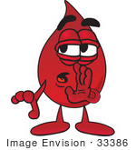 #33386 Clip Art Graphic Of A Transfusion Blood Droplet Mascot Cartoon Character Whispering And Gossiping