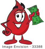 #33388 Clip Art Graphic of a Transfusion Blood Droplet Mascot Cartoon Character Holding a Dollar Bill by toons4biz
