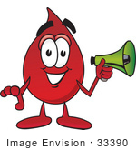 #33390 Clip Art Graphic Of A Transfusion Blood Droplet Mascot Cartoon Character Holding A Megaphone