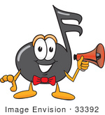 #33392 Clip Art Graphic Of A Semiquaver Music Note Mascot Cartoon Character Holding A Megaphone