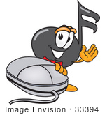 #33394 Clip Art Graphic Of A Semiquaver Music Note Mascot Cartoon Character With A Computer Mouse