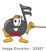 #33397 Clip Art Graphic Of A Semiquaver Music Note Mascot Cartoon Character Holding A Pointer Stick