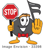 #33398 Clip Art Graphic Of A Semiquaver Music Note Mascot Cartoon Character Holding A Stop Sign