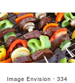 #334 Photo Of Veggies And Meat On Skewers On A Bbq