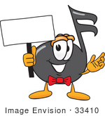 #33410 Clip Art Graphic Of A Semiquaver Music Note Mascot Cartoon Character Holding A Blank Sign