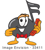 #33411 Clip Art Graphic Of A Semiquaver Music Note Mascot Cartoon Character Holding A Telephone by toons4biz