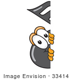 #33414 Clip Art Graphic Of A Semiquaver Music Note Mascot Cartoon Character Peeking Around A Corner