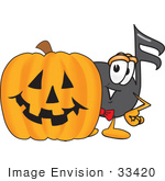 #33420 Clip Art Graphic Of A Semiquaver Music Note Mascot Cartoon Character With A Carved Halloween Pumpkin