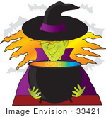 #33421 Clipart Of A Warty Female Witch With Green Skin Wearing A Black Hat With Purple Rim And Coat Looking At Her Colorful Cauldron Of Potion As Vampire Bats Fly Above