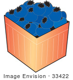 #33422 Clipart Of A Basket Of Ripe Blueberries