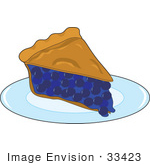 #33423 Clipart Of A Warm Slice Of Fresh Blueberry Pie Served On A Diner Plate