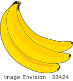 #33424 Clipart Of Three Bright Yellow Ripe Bananas In A Bunch